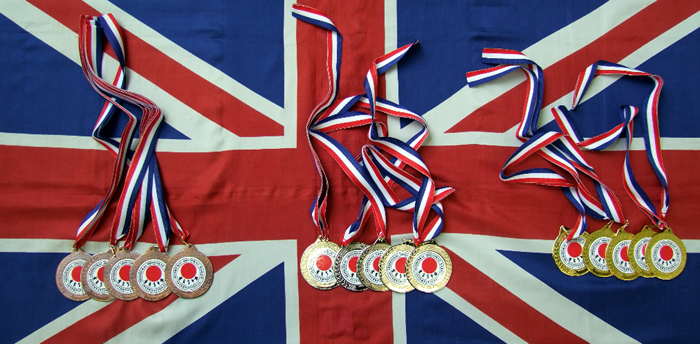 Medals on flag